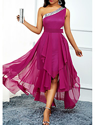 cheap -A-Line Open Back Holiday Cocktail Party Dress One Shoulder Sleeveless Asymmetrical Chiffon with Pleats Sequin 2020