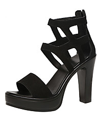 cheap -Women's Heels Chunky Heel Open Toe Suede Casual / Minimalism Spring &  Fall / Spring & Summer Black / Party & Evening