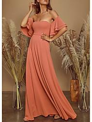 cheap -A-Line Off Shoulder Floor Length Chiffon Elegant Prom / Formal Evening Dress with Cascading Ruffles / Pleats 2020