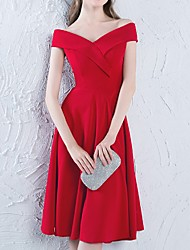 cheap -A-Line Off Shoulder Knee Length Polyester Bridesmaid Dress with Pleats