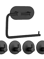 cheap -Adhesive Hooks Bathroom Accessories Set Towel Hook Tissue Holder High-strength Nail-free Sticker Matte Black Brushed Finished Towel Holder Rack 4pcs Robe Hook 1 Paper Holder Removable