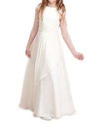cheap -A-Line Floor Length Flower Girl Dress - Polyester Sleeveless Jewel Neck with Ruffles