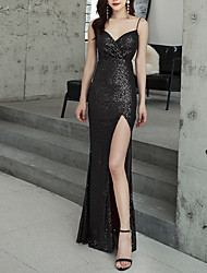 cheap -Sheath / Column Open Back Formal Evening Dress Spaghetti Strap Sleeveless Floor Length Polyester with Sequin Split Front 2021