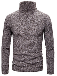 cheap -Men's Solid Colored Long Sleeve Pullover Sweater Jumper, Turtleneck Black / Navy Blue S / M / L