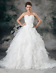 cheap -A-Line Wedding Dresses Sweetheart Neckline Chapel Train Organza Satin Strapless with Ruched Cascading Ruffles 2020