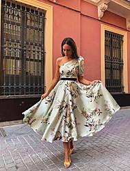 cheap -Women's Sheath Dress - Geometric Light Green S M L XL
