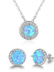cheap -Women's Turquoise Stud Earrings Chain Necklace Classic Precious Stylish Earrings Jewelry Lake Blue For Wedding Engagement Gift School Festival Two-piece Suit