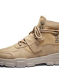 cheap -Men's Comfort Shoes PU Fall & Winter Boots Booties / Ankle Boots Black / Beige / Khaki