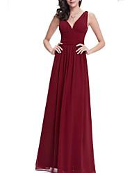 cheap -A-Line Elegant Formal Evening Dress Plunging Neck Sleeveless Floor Length Chiffon with Pleats 2021