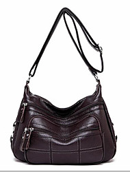 cheap -Women's Zipper PU Crossbody Bag Solid Color Black / Dark Brown / Wine