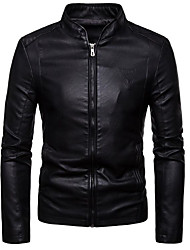 cheap -Men's Daily / Going out Active / Basic Spring &  Fall / Fall & Winter Regular Jacket, Solid Colored Stand Long Sleeve PU Rivet / Print Black / Wine / Brown / Slim