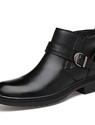 cheap -Men's Leather Shoes Leather / Cowhide Spring & Summer / Fall & Winter Business / Casual Boots Breathable Booties / Ankle Boots Black