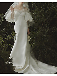 cheap -A-Line Sweetheart Neckline Chapel Train Polyester Half Sleeve Made-To-Measure Wedding Dresses with Beading / Appliques / Draping 2020