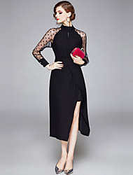 cheap -Women's Maxi Black Dress Elegant Vintage Party / Evening Ceremony Little Black Polka Dot Stand Split Patchwork Print M L / Lace