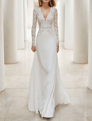 cheap -A-Line Wedding Dresses V Neck Court Train Lace Satin Long Sleeve Illusion Sleeve with Beading Lace Insert 2020