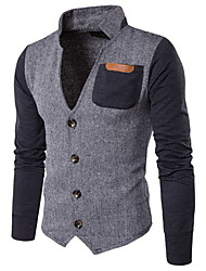 cheap -Men's Daily Regular Jacket, Color Block Peaked Lapel Long Sleeve Polyester Gray / Khaki