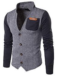 cheap -Men's Peaked Lapel Jacket Regular Color Block Daily Long Sleeve Khaki Gray US36 / UK36 / EU44 US38 / UK38 / EU46 US40 / UK40 / EU48