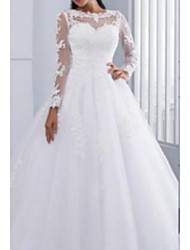 cheap -A-Line Jewel Neck Cathedral Train Tulle / Lace Over Charmeuse Long Sleeve Wedding Dresses with Lace / Draping / Appliques 2020