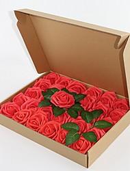 Недорогие -искусственные цветы 30 шт. реально выглядящие темно-красные поддельные розы ж / стебель для поделок свадебные букеты центральные аранжировки партии душа ребенка украшения дома