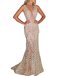 cheap -Fashion Glitter Dresses Women's Elegant Trumpet / Mermaid Dress - Solid Colored Sequins Gold Silver L XL XXL