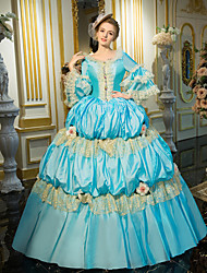 cheap -Rococo Victorian 18th Century Dress Party Costume Masquerade Ball Gown Women's Lace Cotton Costume Blue Vintage Cosplay Party Prom Long Length Ball Gown Plus Size Customized / Floral / Hat