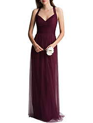 cheap -A-Line Halter Neck Floor Length Tulle Bridesmaid Dress with Ruching