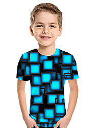 cheap -Kids Boys' Active Street chic Geometric 3D Patchwork Print Short Sleeve Hoodie & Sweatshirt Blue