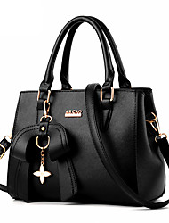 cheap -Women's Bow(s) Faux Leather / PU Top Handle Bag Solid Color Black / Wine / Sky Blue