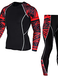 cheap -JACK CORDEE Men's Long Sleeve Cycling Jersey with Tights Compression Suit Winter Fleece Polyester Red Blue Bike Clothing Suit Thermal / Warm Breathable Quick Dry Sweat-wicking Sports Geometric