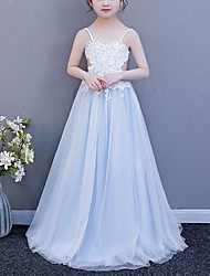 cheap -A-Line Spaghetti Strap Floor Length POLY Junior Bridesmaid Dress with Lace