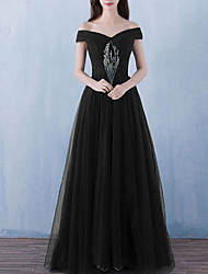 cheap -A-Line Off Shoulder Floor Length Tulle Dress with Ruched by LAN TING Express