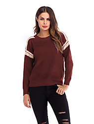 cheap -Women's Color Block Long Sleeve Pullover Sweater Jumper, Round Neck Fall / Winter Wine / Green M / L / XL