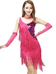 cheap -Women's Flapper Girl Latin Dance Flapper Dress Party Costume Flapper Costume Sequin Polyster Black Fuchsia Royal Blue Dress