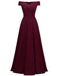 cheap -A-Line Off Shoulder Maxi Polyester Bridesmaid Dress with Ruching