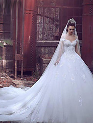 cheap -Ball Gown Off Shoulder Cathedral Train Lace / Tulle Short Sleeve Made-To-Measure Wedding Dresses with Appliques 2020