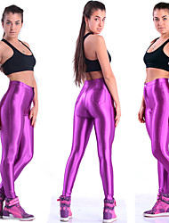 cheap -Women's High Waist Yoga Pants Fluorescent Black Golden Silvery Sky Blue Burgundy Running Fitness Gym Workout Tights Leggings Sport Activewear Butt Lift Tummy Control Power Flex High Elasticity Skinny