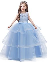 cheap -Kids Girls' Sweet Solid Colored Beaded Bow Layered Sleeveless Maxi Dress Light Blue