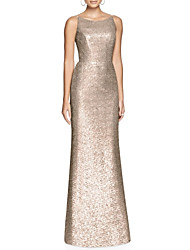 cheap -Sheath / Column Jewel Neck Floor Length Sequined Sparkle & Shine Formal Evening Dress with Sequin 2020