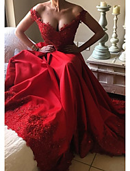cheap -A-Line Beautiful Back Red Prom Formal Evening Dress Off Shoulder Short Sleeve Court Train Satin with Beading Sequin Appliques 2020
