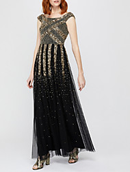 cheap -A-Line Scoop Neck Floor Length Tulle / Sequined Elegant Formal Evening Dress with Beading / Sequin 2020