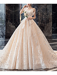 cheap -Ball Gown Wedding Dresses Strapless Chapel Train Sequined Polyester Strapless with 2020