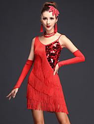cheap -Women's Flapper Girl Latin Dance Flapper Dress Party Costume Tassel Sequins Flapper Costume Sequin Polyster Black Fuchsia Royal Blue Dress