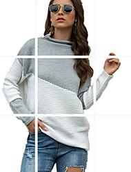 cheap -Women's Color Block Pullover Long Sleeve Sweater Cardigans Turtleneck Wine Khaki Light gray