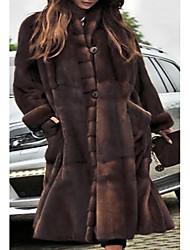 abordables -Femme Soirée / Quotidien Basique Automne hiver Longue Manteau de fausse fourrure, Couleur Pleine Mao Manches Longues Fausse Fourrure Marron / énorme