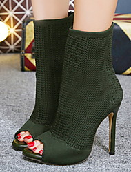 cheap -Women's Boots Stiletto Heel Boots Sock Boots Pumps Peep Toe Booties Ankle Boots Fashion Boots Daily Microfiber Solid Colored Winter Almond Black Green / Booties / Ankle Boots / Booties / Ankle Boots