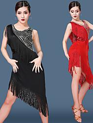 cheap -Women's Flapper Girl Latin Dance Flapper Dress Party Costume Tassel Sequins Flapper Costume Tulle Sequin Polyster Black Purple Royal Blue Dress