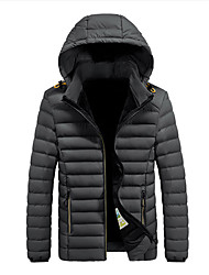 cheap -Men's Daily / Beach Winter Regular Coat, Solid Colored Hooded Long Sleeve Polyester Black / Light gray / Blue