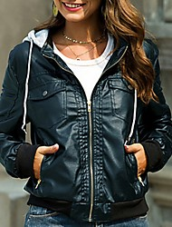 cheap -Women's Daily Fall & Winter Regular Leather Jacket, Solid Colored Hooded Long Sleeve Polyester Black / Blue / Camel