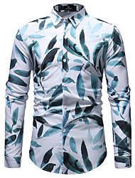 cheap -Men's Daily Going out Basic Shirt - Geometric Print Blue