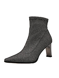 cheap -Women's Boots Block Heel Pointed Toe Sequin Suede Booties / Ankle Boots Casual / Minimalism Spring / Fall & Winter Black / Silver